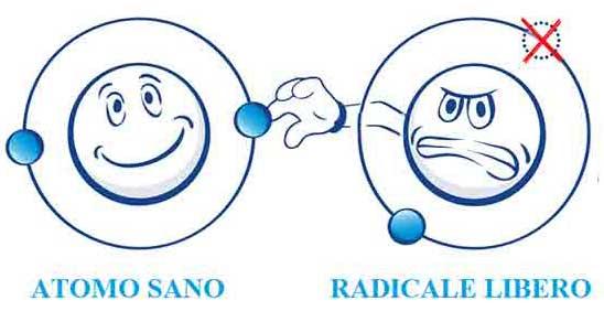 Radicale libero che ruba un elettrone ad una molecola sana